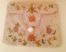 SALE ITEM Circa 1920's beaded  wristlet evening bag