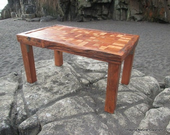 Awesome Exclusive Unique Reclaimed Tsunami Wood Mosaic Coffee Table Handmade In  Constitucion Chile Natural   Free International