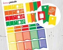 PRINTABLE Checklist Flags Stickers Brights, Planner Stickers, Erin Condren Planner, Plum Paper Planner, Kikki K, Filofax, Calendars