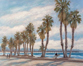 Beach greeting card, Ventura Promenade, from original oil painting by Tina O'brien