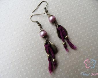 Boho earrings, ethnic earrings, gipsy earrings, silk earrings, powder rose earrings