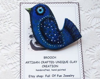 Ceramic Blue bird brooch