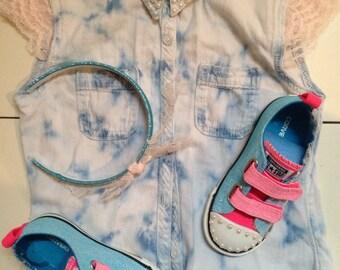 Girls Custom Converse Shoes and headband Size 10