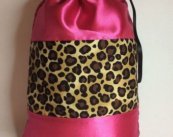 Pink and Leopard Animal Print Dance Ballet Pointe Shoe Bag