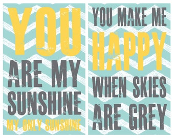 Boy Nursery Print, You are my sunshine nursery art, Set of Two Nursery Prints, Children's art by Jennifer McCully