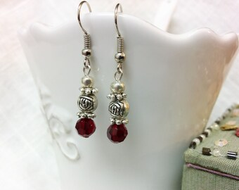 Red and Rose Drop Earrings