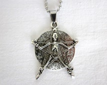Large Antique Silver Style Pentagram with Crucified Skeleton Statement Pendant Necklace