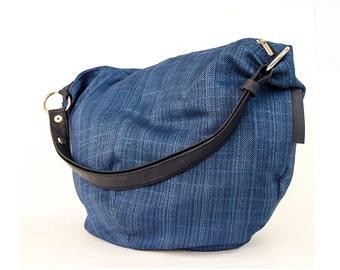 denim hobo bag - canvas hobo bag - canvas bag - over shoulder bag - canvas shoulder bag - womens handbags - womens bags - HADAR 8007