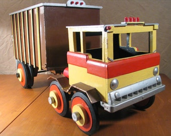 Hand Built Wood Toy Semi Truck