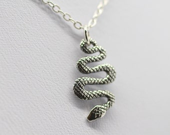 SNAKE CHARM NECKLACE - 925 Sterling Silver *New* Snake Jewelry Reptile Camo