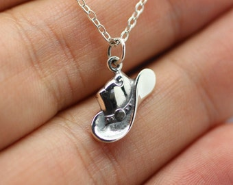 COWBOY HAT NECKLACE - 925 Sterling Silver - Cowboy Hat Charm *New* Cowgirl West