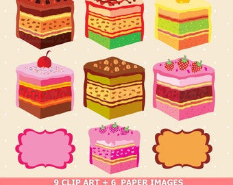 50% OFF SALE Sweet Cake Slices,A Piece of CAKE ClipArt Chocolate,Orange,Strawberry,Coffee Cakes,Dessert ,digital papers,Clip Art Vector Cake