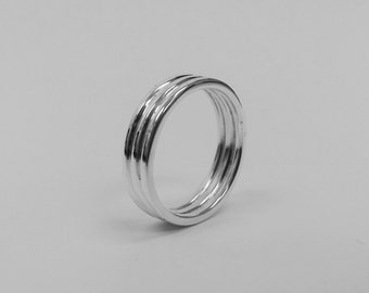 Sterling Silver Three Wire Band