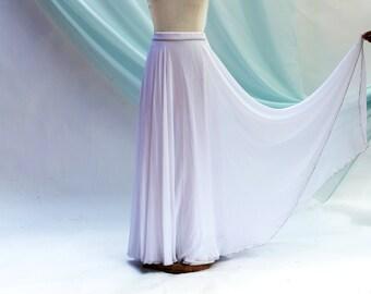 Romantic Skirt Georgette Wedding Skirt Bridal Skirt Wedding Separates White Boho Wedding Prom Bridesmaid Floor Length Full Circle Skirt