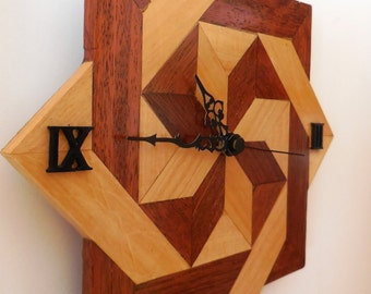 Handcrafted wooden clock merbau and Maple