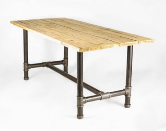Dining table handmade from 2 inch gas pipe and reclaimed wood