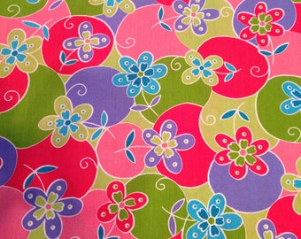 Bright flowers! Poly/ cotton fabric