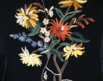 Hand made wool floral tapestry