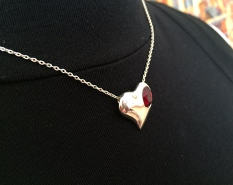 Garnet and Silver Hearts Necklace and Earrings Set