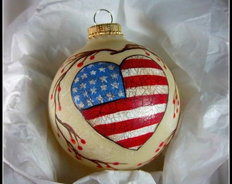 Americana Ornament, Hand-Painted Red, White and Blue Heart, Free Inscription, Glass Ornament, Vines and Berries, Stars and Stripes