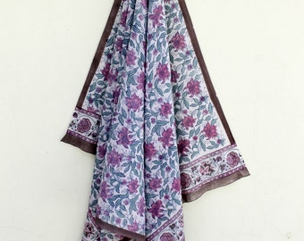 Hand Block Print Scarf Jaipur Block Print Beautiful Floral Wrap Soft Cotton Sarong in Rapid Dye
