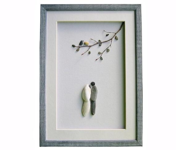 Pebble Art Wedding Gift : wedding pebble art gift, Elegant and romantic wedding framed wall art ...