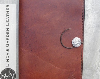"Handmade Leather Kindle Fire HD 8.9"" or Nook HD+ 9"" cover"