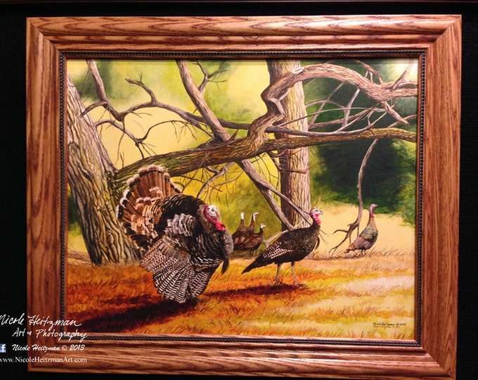 Father's Day Gift for men Turkey Hunting Art Turkey Painting Turkey Print Cottonwood Gang Limited Edition Canvas print by Nicole Heitzman