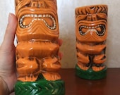 Quon-Quon large tiki salt and pepper shaker set - extra large jumbo size S+P