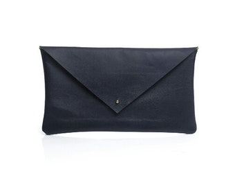Enlarged navy blue leather Clutch, leather envelope, navy blue envelope, enlarged leather clutch