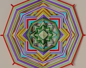 "Mandala  Ojo de Dios ""Protection"", 22 sm, 8-sided, home decor, healer, healing, eye god,"