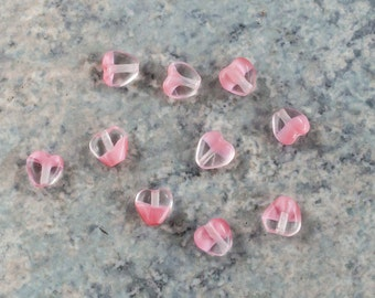 Vintage Givre Pink Heart German Glass Beads 6mm (20)