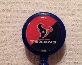 Houston Texans Badge Id Reel Holder   inspired   Alligator Clip  blue red  handmade New