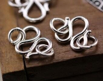 6pcs. Sterling Silver M Clasp, Necklace Clasp, Bracelet Clasp, Connectors, Jewelry Supplies