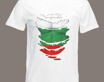 Bulgarian Flag T-Shirt  see Muscles through Ripped T-Shirt Bulgaria in all sizes