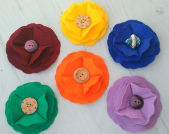 Folded Felt Flower Brooch