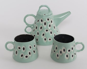 Handmade Teapot with Two Mugs. Green and Black Slip Cast Porcelain. Individually Carved. Made in Scotland. SOLD OUT