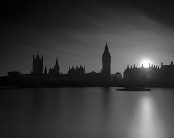 London Fine Art Photo Print: Big Ben, Elizabeth Tower, Parliament, Westminster Bridge and The Thames