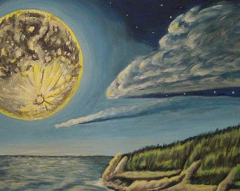 Blue Moon Rising: acrylic painting