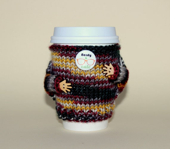 Nerdy and Cute Travel mug cozy. Coffee cozy. Knitted cup sweater. Office coffee. Nerdy onesie. Starbucks cup holder