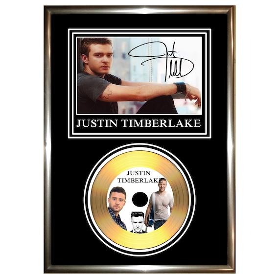 justin timberlake signed framed gold vinyl cd by golddiscdisplays. Black Bedroom Furniture Sets. Home Design Ideas