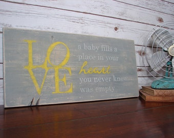 """Hand Painted Cottage Style Wood """"Baby Love"""" Sign"""