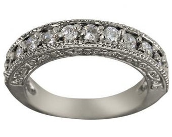 Diamond Wedding Band In 14k White Gold With Milgrain Decoration & Diamond Accent