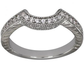 Matching Wedding Bands Curved Wedding Bands Diamond Wedding Bands 14K White Gold