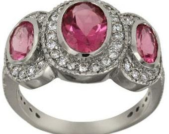 Pink Tourmaline 3 Stone Ring Tourmaline Ring Tourmaline Jewelry With Diamonds