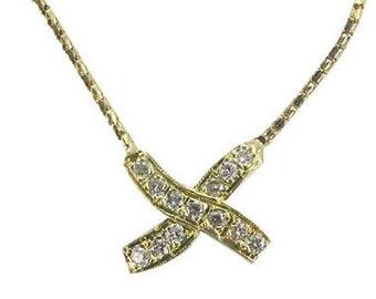 Gold Necklace Diamond Pendant With 0.25 Carat Pave Diamonds X Design