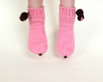 Girl's wool socks with pumps, pink