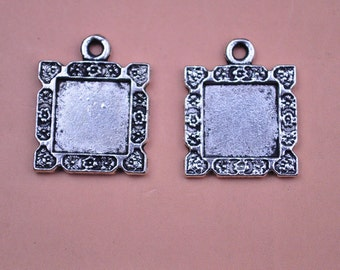 20pcs silver picture frame pendant charms 18x18mm