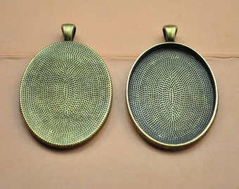15pcs bronze Oval blanks  alloy pendant trays  photo frames for 30x40mm & 22x30mm cabochon settings necklace pendant