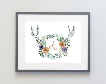 Hand Painted Watercolor Archival Giclée Print - Floral Antler Letter Frame